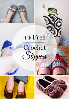 14 Free Crochet Slipper Patterns - Crochet for your feet with these 14 fabulous and cute slipper patterns   Whistle and Ivy