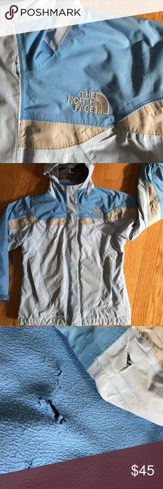Girl's North Face jacket Sweet baby blue North Face Hyvent jacket.  WARM, has some wear.  Hole in back of lining and sleeve as shown, not too noticeable. North Face Jackets & Coats
