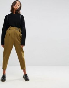 ASOS Tailored Peg Trousers with Tab and Buckle Detail