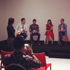 Siew Hoon talks to last year's finalists of the WIT Start-up Pitch. Alex Kremmer of FlexTrip, Tudor Coman of Flocations, Winnie Tan of Travelogy and Ian Cumming of GetFlight - @webintravel- #webstagram