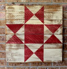 A classic barn quilt painted on a distressed white barn board with a bold Ohio Star pattern. Finished for use inside or out. Custom colors available by email. Barn Quilt Designs, Barn Quilt Patterns, Quilting Designs, Crochet Patterns, Star Quilts, Quilt Blocks, Amish Barns, Painted Barn Quilts, Barn Signs