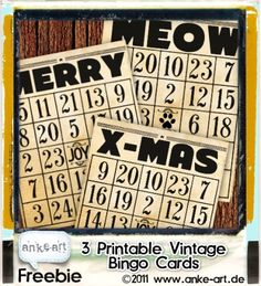 Free printable vintage Bingo cards for your last-minute Christmas cards ;)