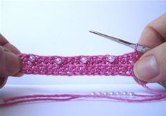 How to single crochet with beads.
