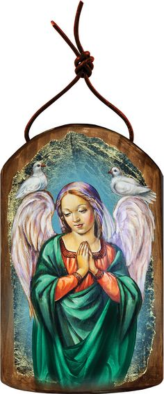 "Check out Angel of Prayer 4.75""h Museum Icon Wooden Ornament, Handcrafted Sacred Art, Wall Hanging Plaque Inspirational Decor 87026 on iconartbyhand"