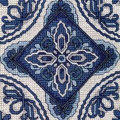 <p>Create a spectacular blue-and-white tile cross stitch design to embellish a linen cushion with Prue Scott's intricate cross stitch pattern, featuring four tiles.</p>