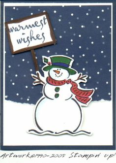 by rccarol - Cards and Paper Crafts at Splitcoaststampers Christmas Cards 2018, Stamped Christmas Cards, Vintage Christmas Cards, Christmas Greeting Cards, Christmas Greetings, Handmade Christmas, Christmas Crafts, Christmas 2014, Christmas Snowman