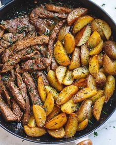 Garlic Butter Steak and Potatoes Skillet By @eatwell101 ~ This easy one-pan recipe is SO simple, and SO flavorful. The best steak and…