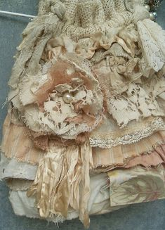 Tattered Lace Ruffles Purse Upcycled Vintage Textiles Boho Grunge Embellishment | by Resurrection Rags