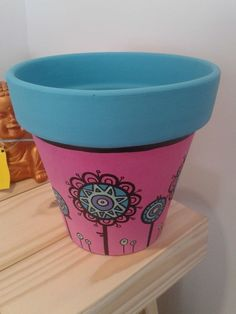 Painted Clay Pots, Painted Flower Pots, Flower Pot Art, Pottery Painting Designs, Cactus Planta, Clay Pot Crafts, Decoupage Paper, Terracotta Pots, Handmade Flowers