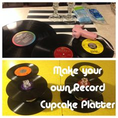 themed Birthday Party -- Make Your Own Record Platter 50s Theme Parties, 80s Birthday Parties, 30th Party, 30th Birthday, Birthday Party Themes, 80s Theme, Elvis Birthday Party, Birthday Decorations, Decade Party