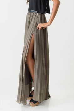 Sage Pleated Maxi Skirt. So pretty for warmer weather But I bet it would fab with black leggings and kick ass boots
