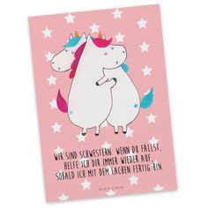Postkarte Einhörner Umarmen aus Karton 300 Gramm  weiß - Das Original von Mr. & Mrs. Panda.  Jedes wunderschöne Motiv auf unseren Postkarten aus dem Hause Mr. & Mrs. Panda wird mit viel Liebe von Mrs. Panda handgezeichnet und entworfen.  Unsere Postkarten werden mit sehr hochwertigen Tinten gedruckt und sind 40 Jahre UV-Lichtbeständig. Deine Postkarte wird sicher verpackt per Post geliefert.    Über unser Motiv Einhörner Umarmen  Die umarmenden Einhörner sind das ultimative Geschenk für die…