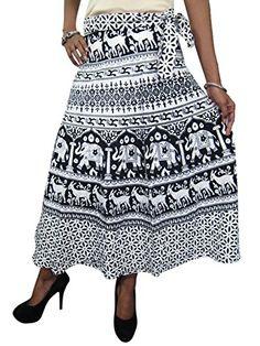 Mogul Interior Women's Maxi Skirt Black Printed Cotton Gorgeous Long Skirts M/L Bohemian Maxi Skirt, Gypsy Skirt, Boho Skirts, Ethnic Skirts, Womens Maxi Skirts, Long Skirts For Women, Maxi Skirt Black, White Skirts, Elephant Black And White