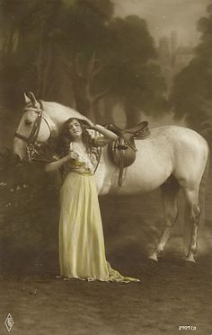 Vintage woman with horse post card