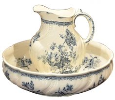Porcelain Water Jug and Wash Dish.