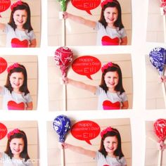 Cool valentine card idea.  Take a picture of child punching their arm straight out. Get it developed into wallet size prints. Take an exacto knife and cut slits above and below hand. Slide blow pop in and Voila! You can add the bubble in photoshop or other picture editing programs.