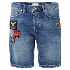 Blue Badge Slim Denim Shorts ❤ liked on Polyvore featuring shorts, blue denim shorts, blue jean shorts, slim fit denim shorts, short jean shorts and denim short shorts