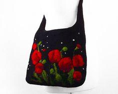 Felted Bag Poppy Handbag Felted wool Nunofelt Purse Poppy purse wild Felt Nunofelt Nuno felt Silk fairy fantasy shoulder bag Fiber Art boho