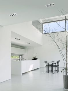 Minimal white Interior with Duet Led lighting system _