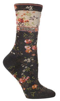 Mona Linen - Luxury Women's Floral Crew Socks From Ozone Design. Beige Socks, Floral Socks, Work Socks, Calf Socks, Grey And Beige, Charcoal Gray, Velvet Color, Patterned Socks, Shoe Bag