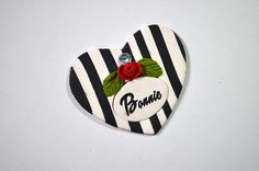 Striped Heart and Rose Dog Tag / Pet Tag by DebraHalliday on Etsy