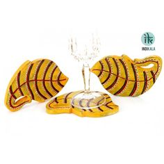 Yellow Leaf Shaped  Coasters(set of 3)