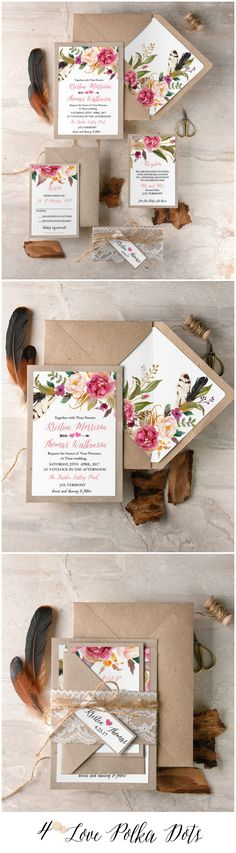 Boho Floral wedding invitations with real lace #sponsored