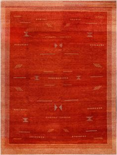 Rugsville Gabbeh Tribal Rust Wool Rug 13228