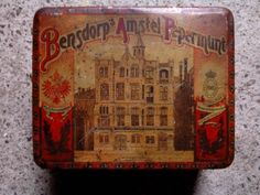 A Dutch Bensdorp Amstel Peppermint Tin from Amsterdam, 50ties with the Factory of Bensdorp on the cover, its in my Collection and for Sale