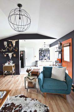 Ilove the light fixture. So easy to DIY! Emma's living room tour abeautifulmess.com