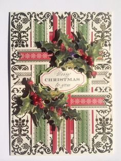 """Anna Griffin Holiday Trimmings Christmas Card kit plus """"Star Dust"""" glitter glue on holly leaves for sparkle and red pearls for some berries - Jacki Sullivan"""
