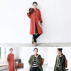 retro orange/army green women coat top blouse basic by ideacloth
