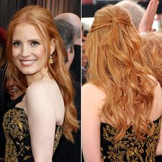 Brides.com: Wedding Hairstyle Inspiration from the 2012 Red Carpet. Jessica Chastain at the 2012 Oscars. Browse more half-up wedding hairstyles.