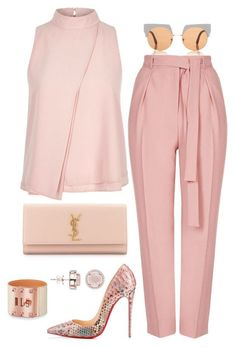 Breast Cancer Awareness by fashionkill21 ❤ liked on Polyvore featuring Marni, Topshop, River Island, Christian Louboutin, Yves Saint Laurent and H.AZEEM