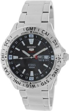A really nice looking GMT if you can't swing a Rolex...  Seiko 5 Special Edition Black Dial Steel Mens Watch SRP431, http://www.amazon.com/dp/B00EX571H8/ref=cm_sw_r_pi_awdm_9l.ttb0W4NZGM