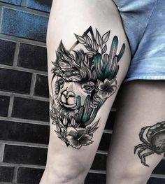 Blackwork tattoo with lama and leg tattoo - page 3 Dream Tattoos, Girly Tattoos, Unique Tattoos, Leg Tattoos, Beautiful Tattoos, Body Art Tattoos, Small Tattoos, Sleeve Tattoos, Tatoos