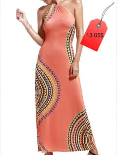 Alluring Halter Neck Printed Hollow Out Dress For Women