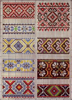 {Crochet} interesting possibilities for cross stitch borders or maybe even quilt patterns Cross Stitch Borders, Cross Stitch Charts, Cross Stitch Designs, Cross Stitching, Cross Stitch Embroidery, Embroidery Patterns, Cross Stitch Patterns, Quilt Patterns, Ethnic Patterns