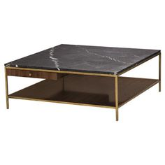 Simple and chic, this luxurious, mid-century modern coffee table is all about the details. Supported by a streamlined brass frame, the table features a seductive, black marble top, as well as a spacious, walnut shelf and surprise drawer for added storage and function.
