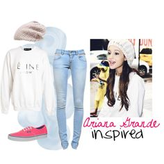 Ariana Grande Inspired outfit. ♥ For School  Shirt- Burlington&Ross Jeans-Ross&Burlington Shoes-(substitute with converse) converse clearance store Hat-home