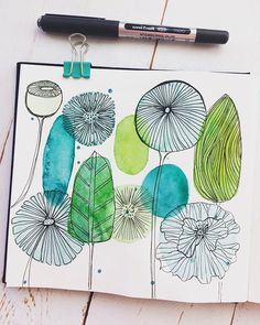 Doodle Art 818951513470040048 - Morning line marking warming up for Inktober. I bought some new uniball pens with a fine nib which are super lush 💙💚 Source by gantoisthibault Pen And Watercolor, Abstract Watercolor, Watercolor Paintings, Watercolors, Watercolor Design, Art Sketchbook, Doodle Art, Painting Inspiration, Inktober