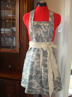 ACU apron--> love this! With pink and yellow? Army Crafts, Military Crafts, Army Mom, Military Spouse, Army Life, Army Uniform, Military Uniforms, Airforce Wife, Air Force Mom