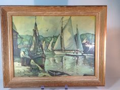 Vintage Water Color Print of Sail Boats, Docks and Dock Workers by Olig Cook