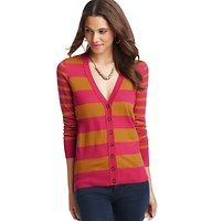 Petite Striped V-Neck Long Sleeve Cardigan - An array of sweet stripes add flair to this oh-so-versatile piece—it wears well over just about anything. V-neck. Long sleeves. Tonal buttons. Reverse jersey trim at placket. Ribbed cuffs and hem.