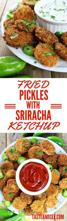 Fried Pickles with Sriracha Ketchup - tangy sweet spicy delights w literally 5 ingredients! Side Dish Recipes, New Recipes, Cooking Recipes, Favorite Recipes, Delicious Recipes, Amazing Recipes, Interesting Recipes, Delicious Dishes, Recipes