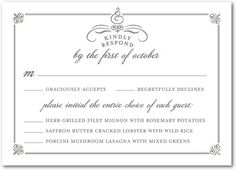 5 types of wedding rsvp card wording wedding rsvp pinterest celebrated scrolls signature white wedding response cards in gunmetal or black filmwisefo