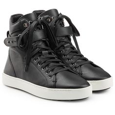 Rag & Bone High-Top Leather Sneakers ($215) ❤ liked on Polyvore featuring shoes, sneakers, footwear, black, black high top shoes, black lace up shoes, leather high tops, black high-top sneakers and leather shoes