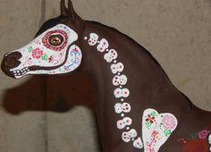 day of the dead, horse, sugar skull, altered art