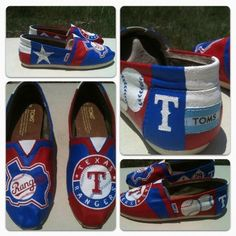 Hand Painted Texas Rangers TOMS, Made to Order, Choose Your Size. $100.00, via Etsy.