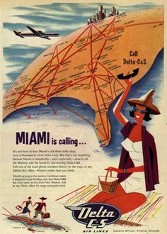 Miami is calling... Delta Air 1950's